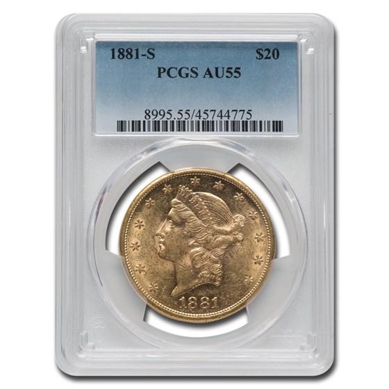 1881-S $20 Liberty Gold Double Eagle AU-55 PCGS