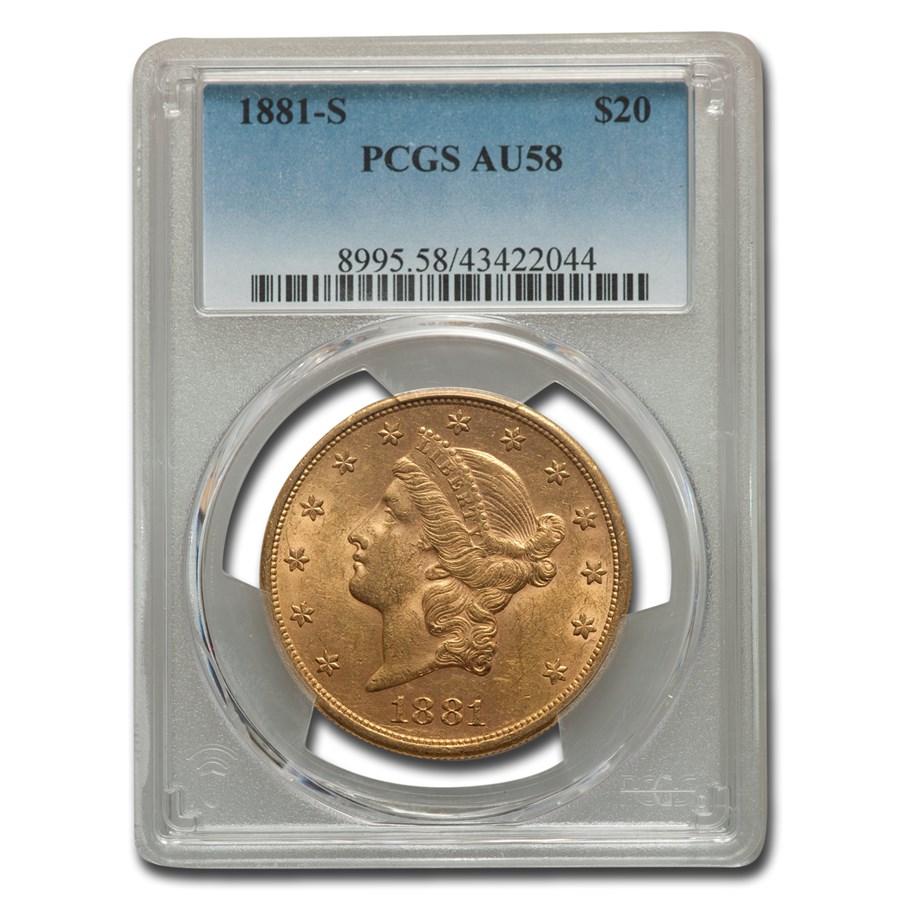 1881-S $20 Liberty Gold Double Eagle AU-58 PCGS