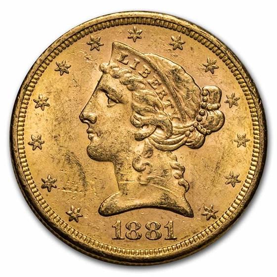 1881-S $5 Liberty Gold Half Eagle AU