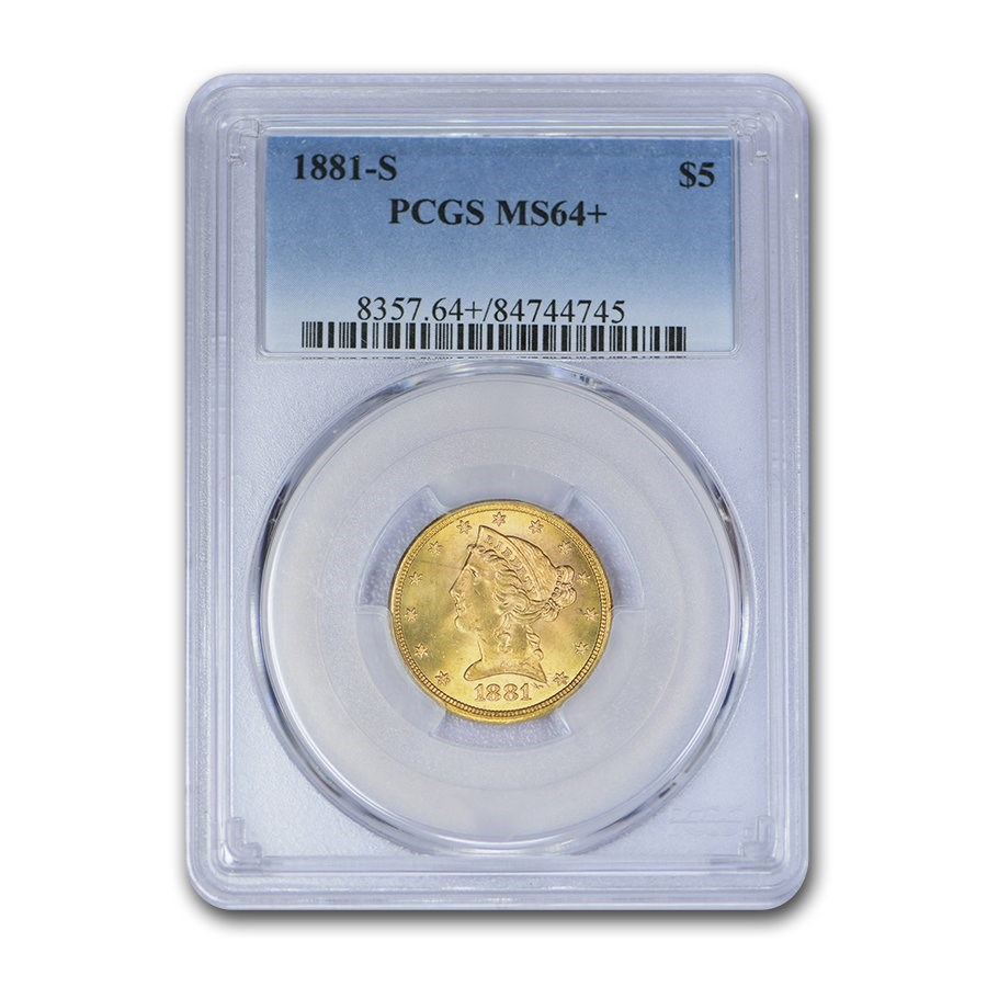 1881-S $5 Liberty Gold Half Eagle MS-64+ PCGS