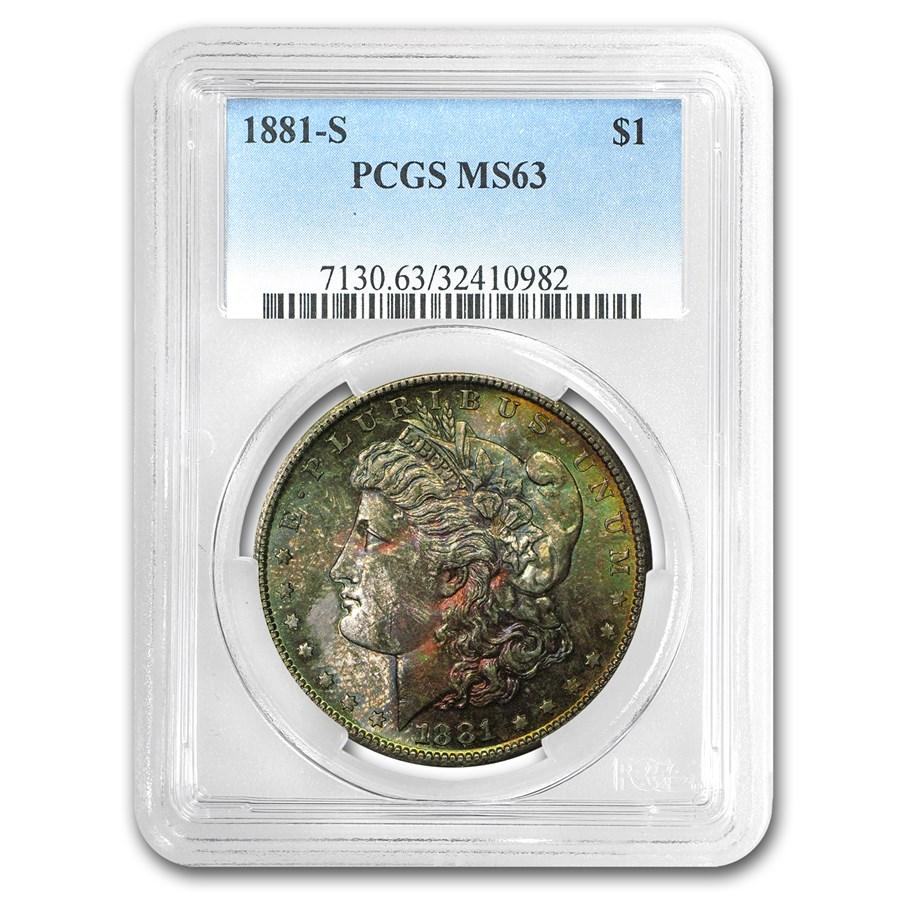 1881-S Morgan Dollar MS-63 PCGS (Obv Toning)