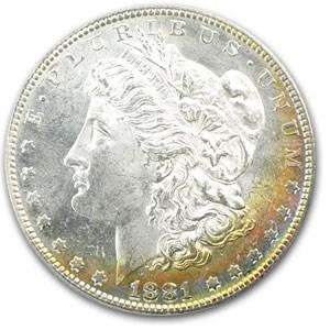 1881-S Morgan Dollar MS-63 PCGS (Rainbow Toned, Old Green Holder)