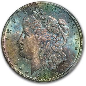 1881-S Morgan Dollar MS-64 PCGS (Blue & Pink Obv Toning)