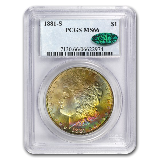 1881-S Morgan Dollar MS-66 PCGS (CAC, Obv Rainbow)
