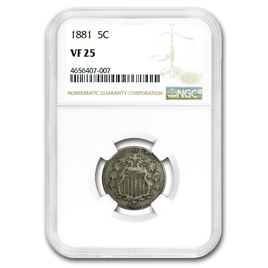 1881 Shield Nickel VF-25 NGC