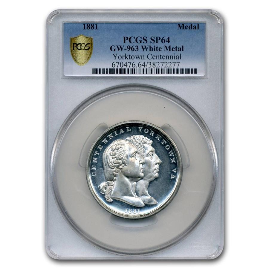 1881 Yorktown Centennial Medal SP-64 PCGS (White Metal)
