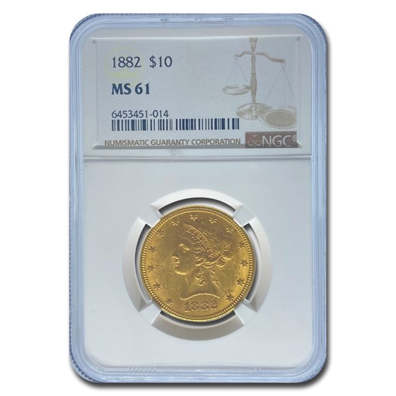 1882 $10 Liberty Gold Eagle MS-61 NGC