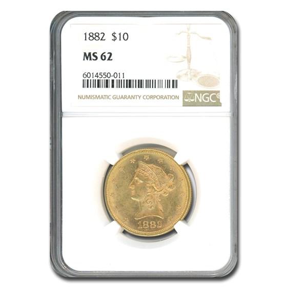 1882 $10 Liberty Gold Eagle MS-62 NGC