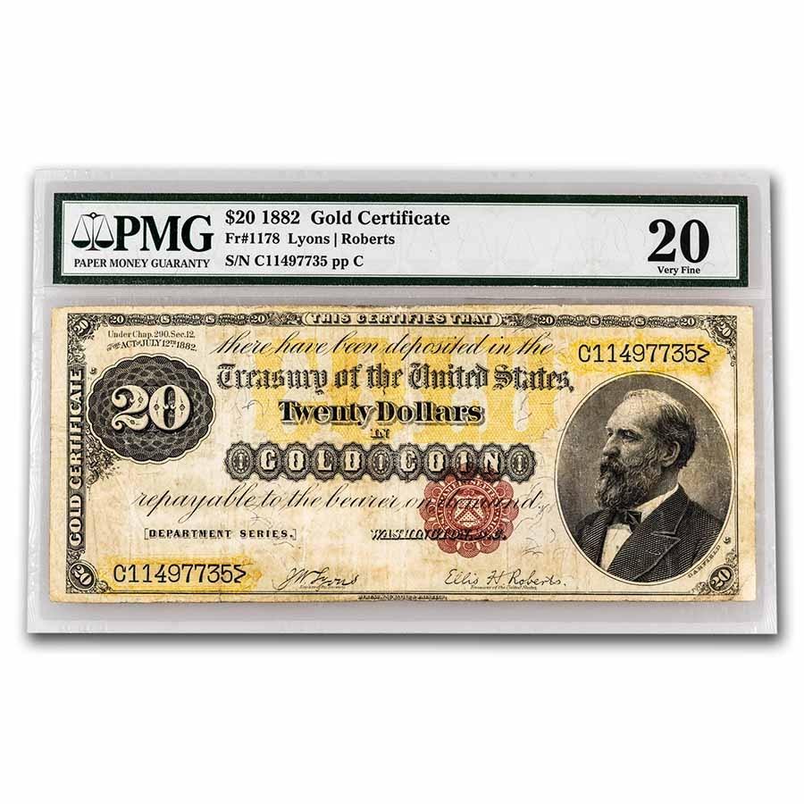 1882 $20 Gold Certificate VF-20 PMG (Fr#1178)