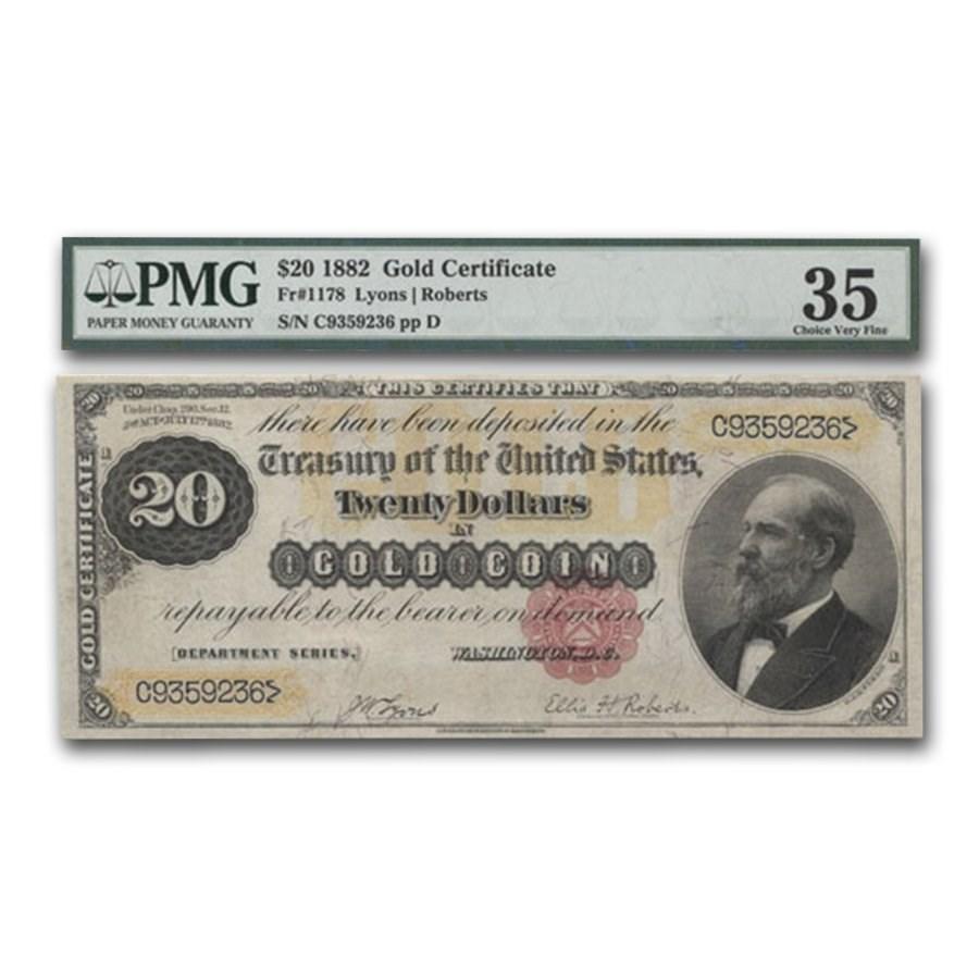 1882 $20 Gold Certificate VF-35 PMG