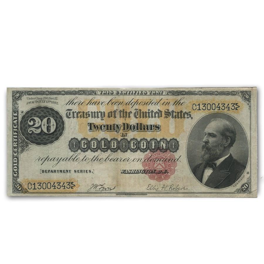 1882 $20 Gold Certificate VF
