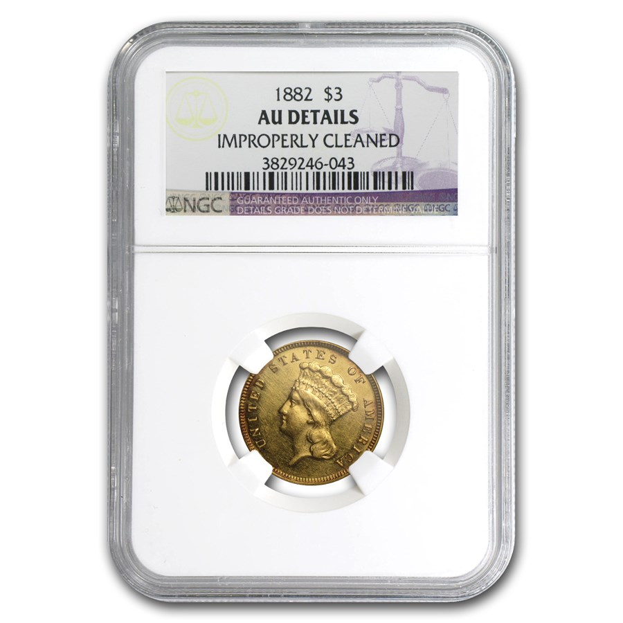 1882 $3 Gold Princess AU Details NGC (Cleaned)