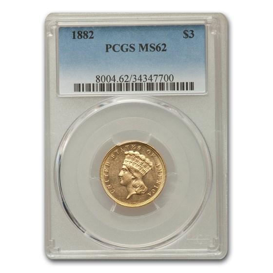 1882 $3 Gold Princess MS-62 PCGS