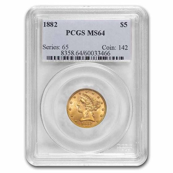 1882 $5 Gold Half Eagle MS-64 PCGS