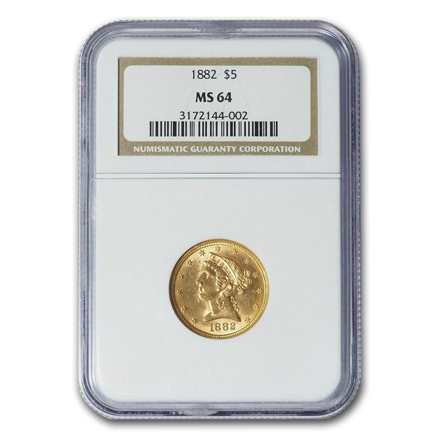 1882 $5 Liberty Gold Half Eagle MS-64 NGC