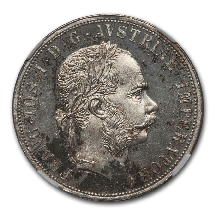 1882 Austria Silver 2 Florin Franz Joseph I MS-65 NGC