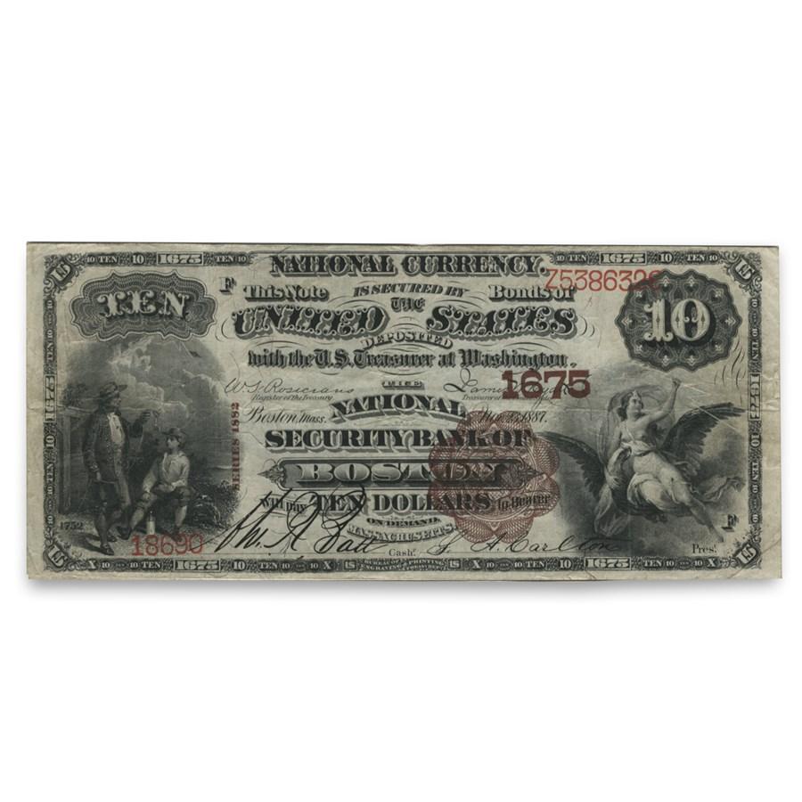 1882 Brown Back $10.00 Boston, MA VF (CH# 1675)