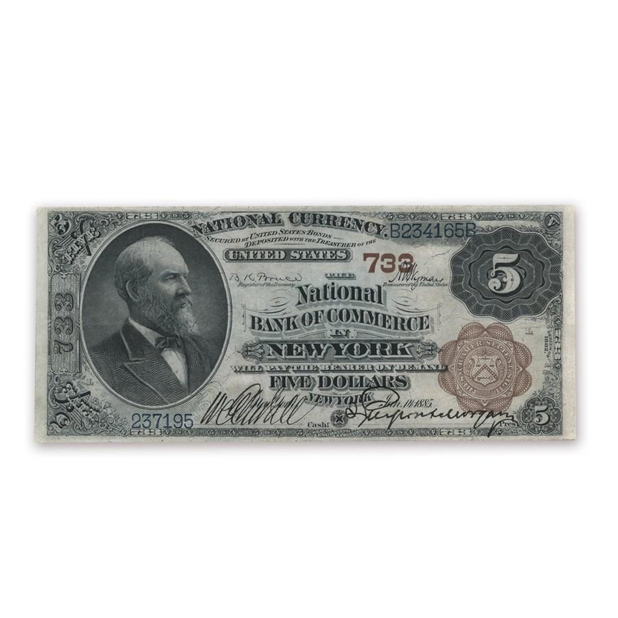 1882 Brown Back $5.00 New York, New York XF (CH# 733)