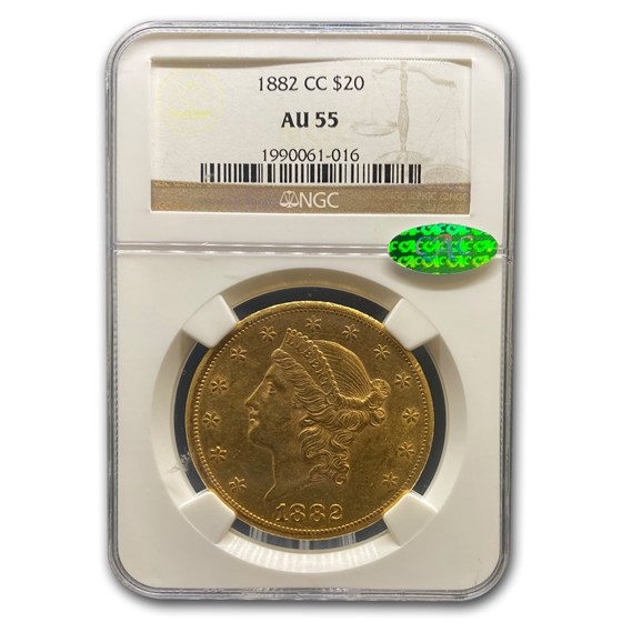 1882-CC $20 Liberty Gold Double Eagle AU-55 NGC CAC