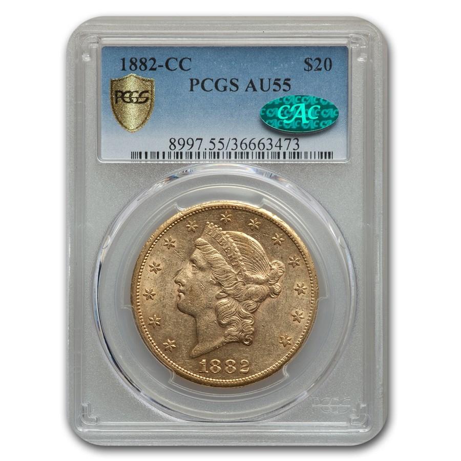 1882-CC $20 Liberty Gold Double Eagle AU-55 PCGS CAC