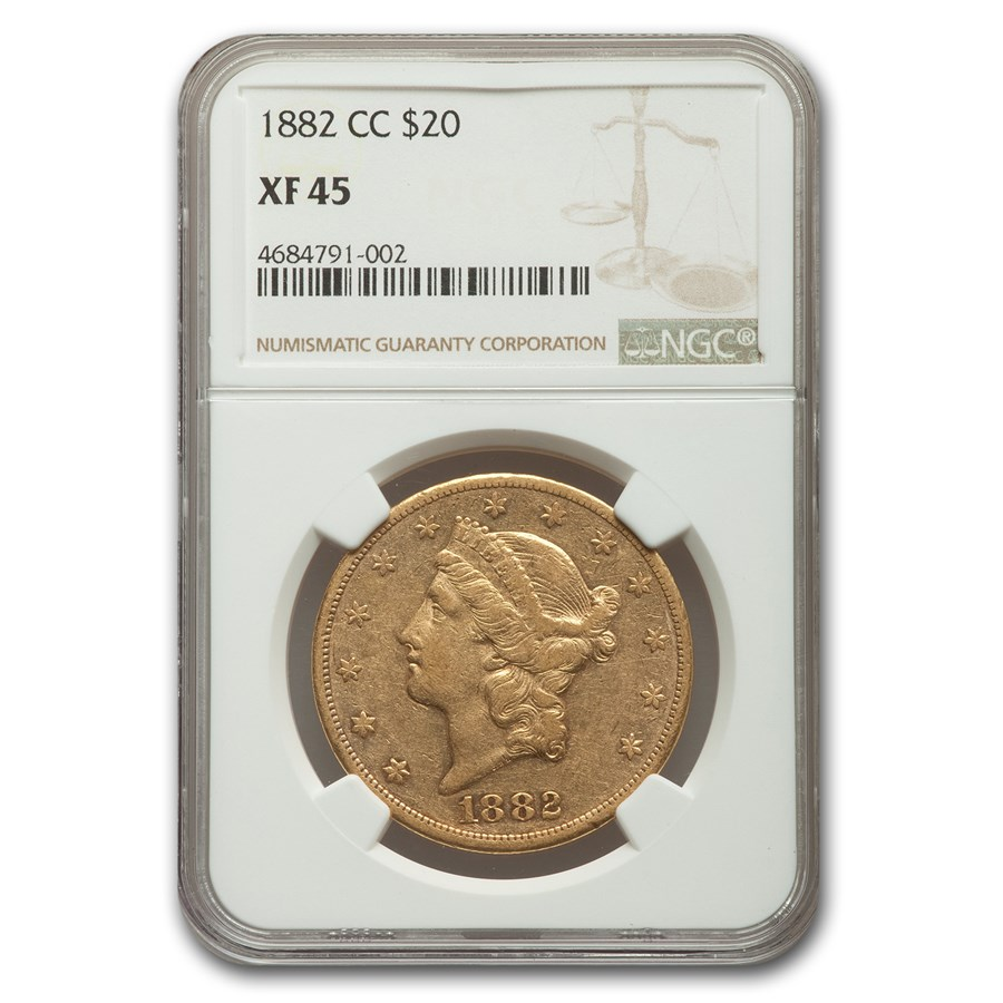 1882-CC $20 Liberty Gold Double Eagle XF-45 NGC