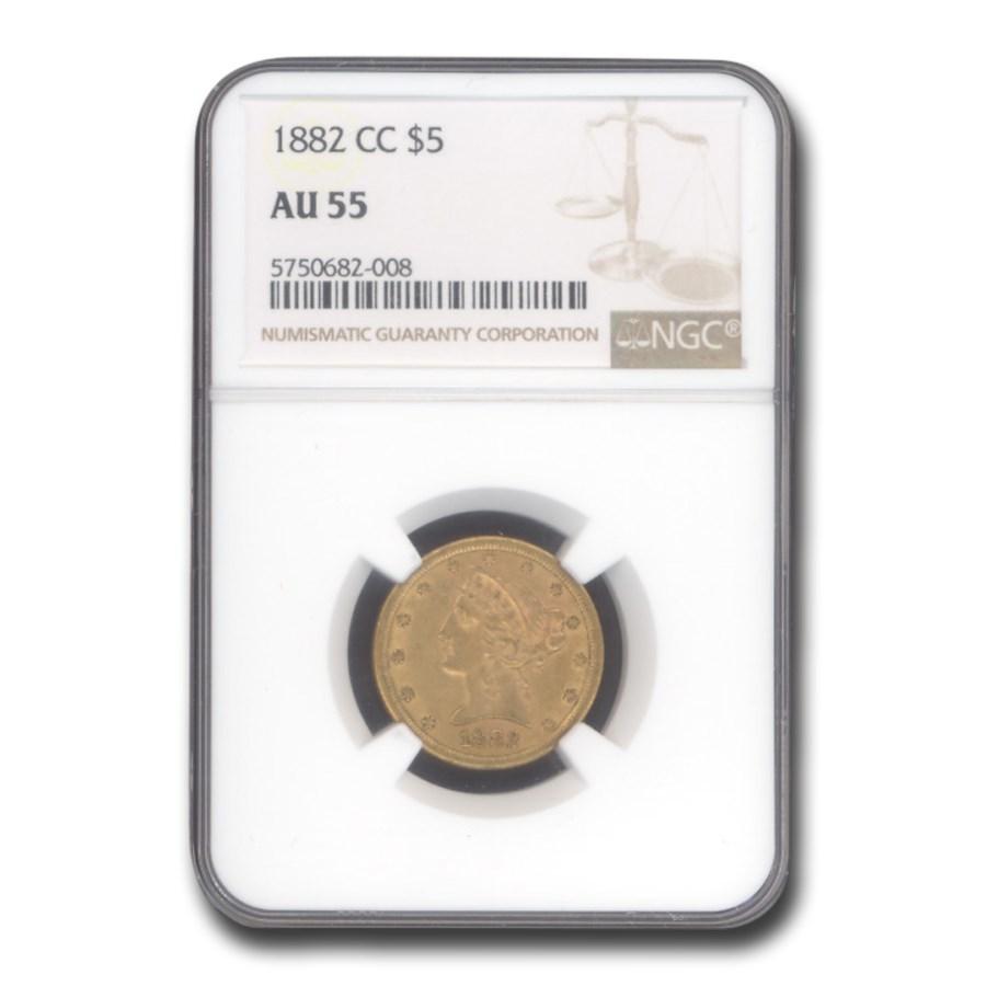 1882-CC $5 Liberty Gold Half Eagle AU-55 NGC