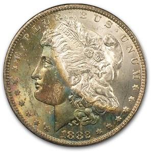 1882-CC Morgan Dollar MS-64 (GSA, Obv Toning )