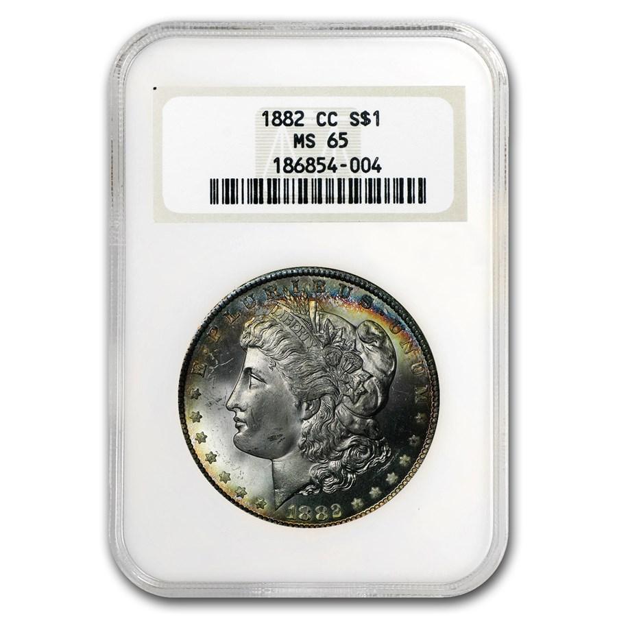 1882-CC Morgan Dollar MS-65 NGC (Blue Obv Toning)