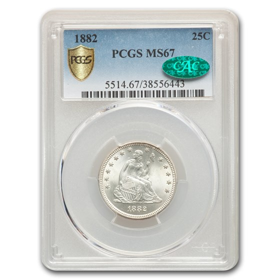1882 Liberty Seated Quarter MS-67 PCGS CAC