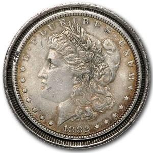 1882 Morgan Dollar XF (Railroad Rim Partial Collar Error)