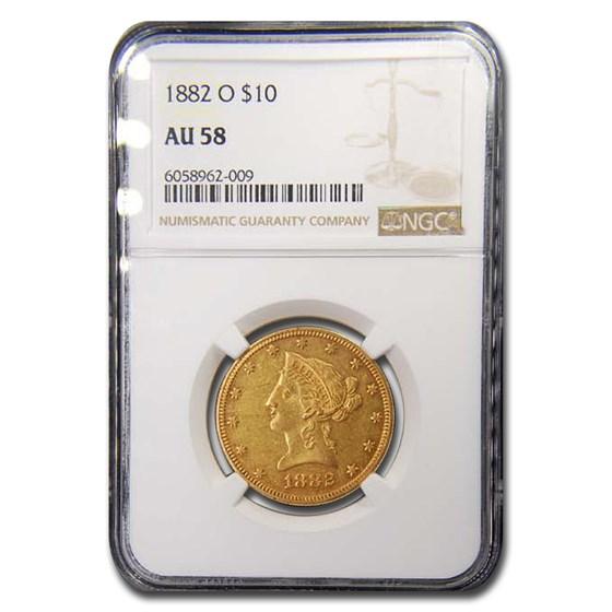 1882-O $10 Liberty Gold Eagle AU-58 NGC