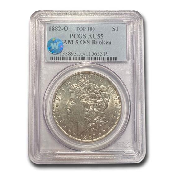 1882-O/S Morgan Dollar AU-55 PCGS (VAM 5 O/S Broken, Top 100)