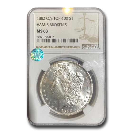 1882-O/S Morgan Dollar MS-63 NGC (VAM-5 Broken, Top-100)