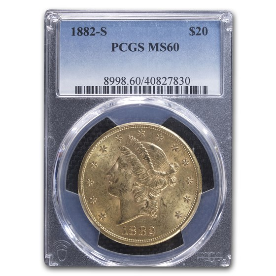 1882-S $20 Liberty Gold Double Eagle MS-60 PCGS
