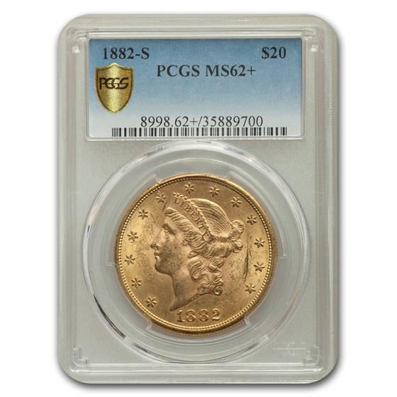 1882-S $20 Liberty Gold Double Eagle MS-62+ PCGS