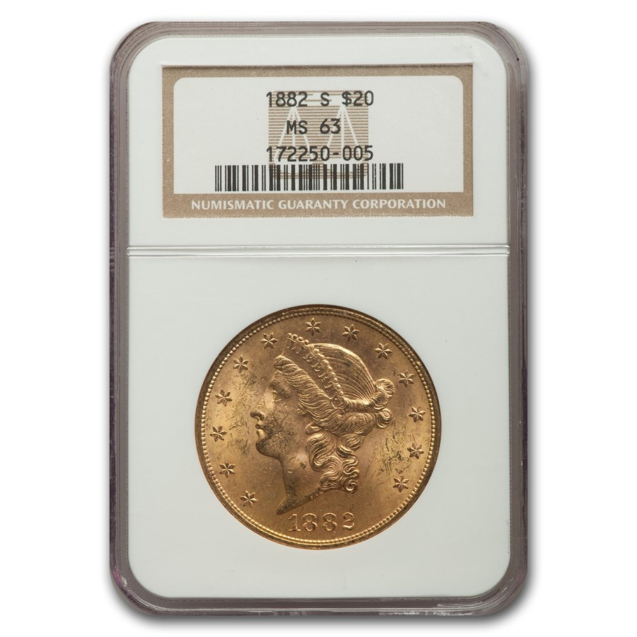 1882-S $20 Liberty Gold Double Eagle MS-63 NGC