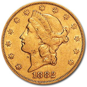 1882-S $20 Liberty Gold Double Eagle XF