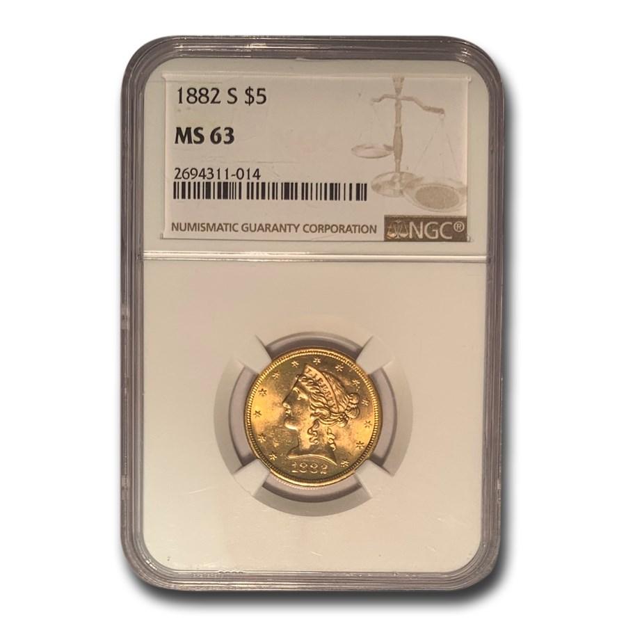 1882-S $5 Liberty Gold Half Eagle MS-63 NGC