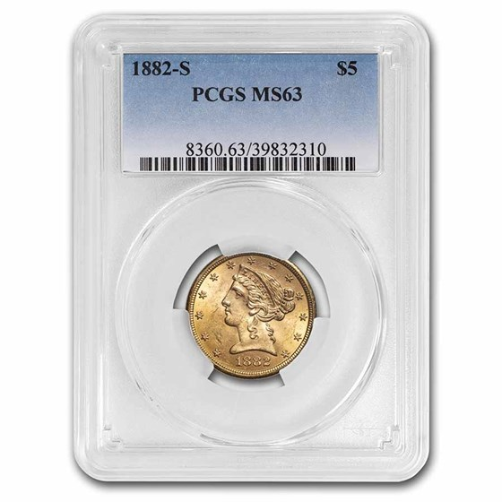 1882-S $5 Liberty Gold Half Eagle MS-63 PCGS