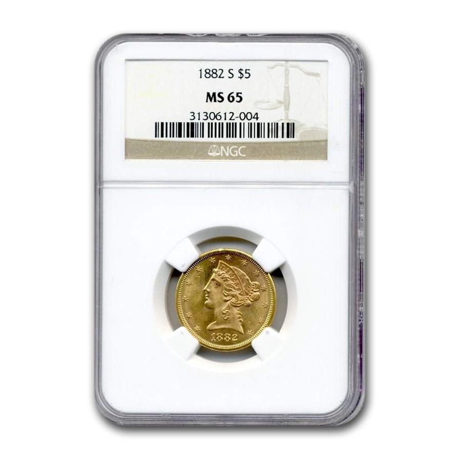 1882-S $5 Liberty Gold Half Eagle MS-65 NGC