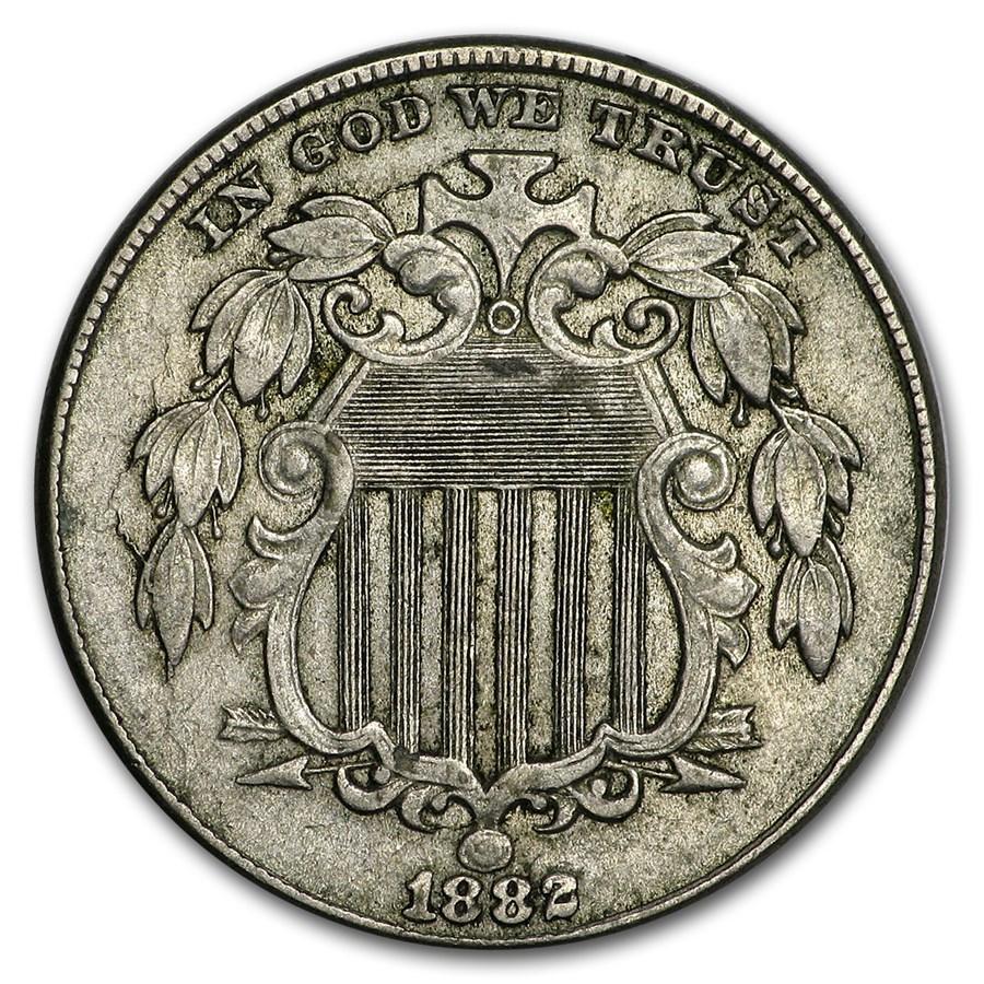 1882 Shield Nickel AU