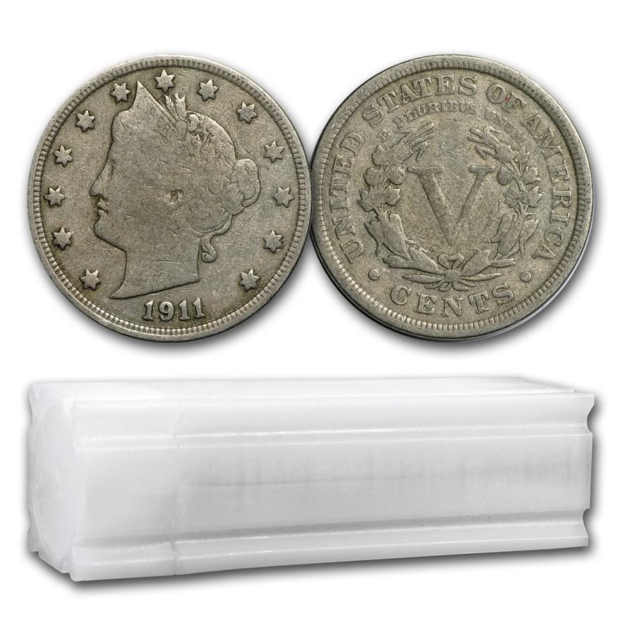 1883-1912 Liberty Head V Nickels 40-Coin Roll Avg Circ