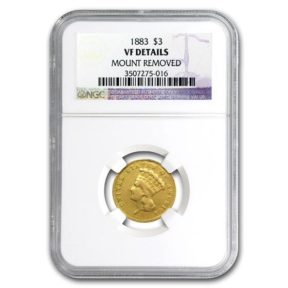 1883 $3 Gold Princess VF Details NGC