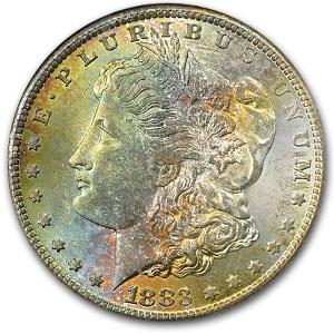 1883-CC Morgan Dollar MS-65 NGC (Colorful Obv Toning)