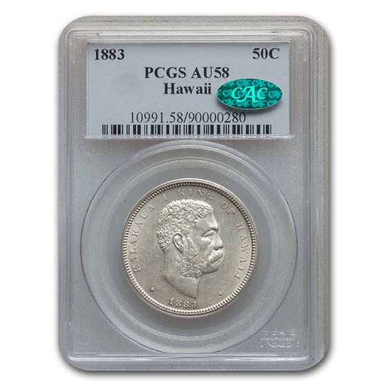1883 Hawaii Half Dollar Kalakaua I AU-58 PCGS CAC