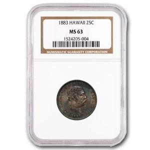 1883 Hawaii Quarter MS-63 NGC