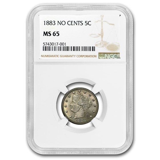 1883 Liberty Head V Nickel No Cents MS-65 NGC