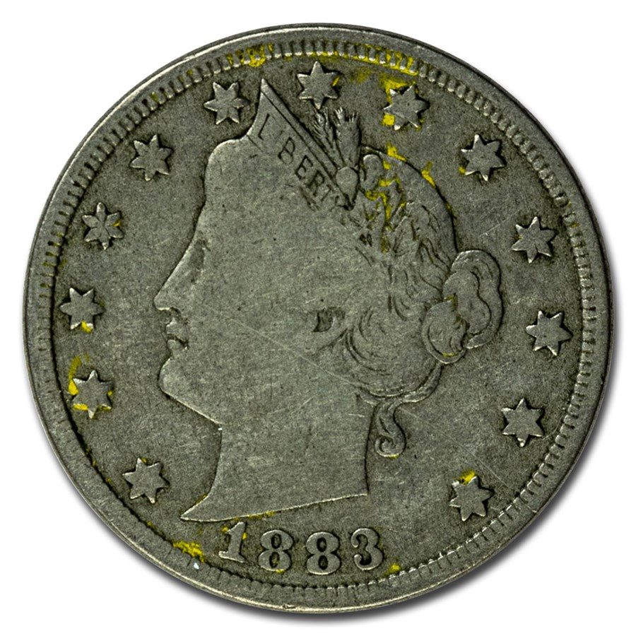 1883 Liberty Head V Nickel w/Cents Fine
