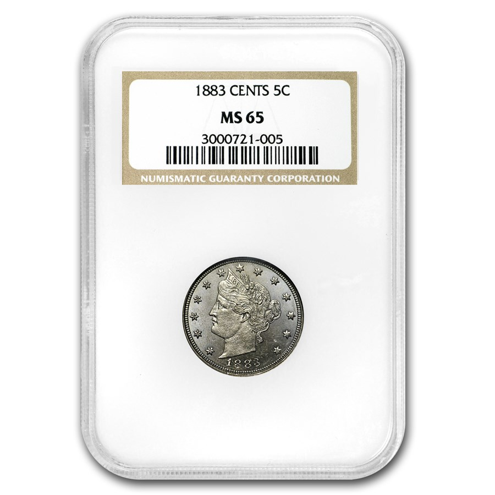 1883 Liberty Head V Nickel w/Cents MS-65 NGC