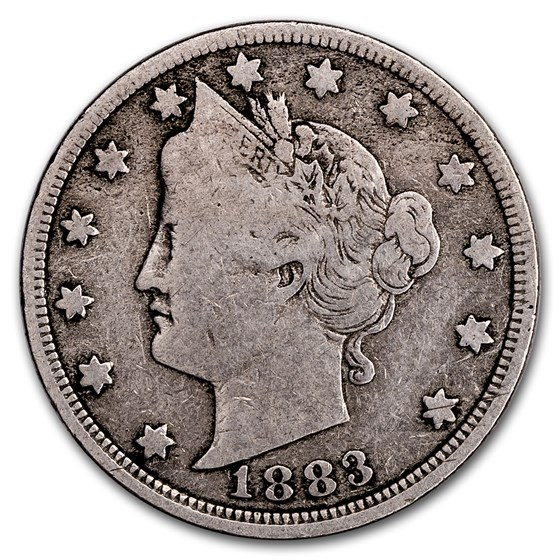 1883 Liberty Head V Nickel w/Cents VG